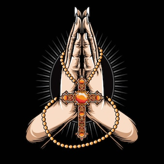 Praying hand with cross necklace vector