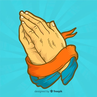 Praying hands with ribbon background