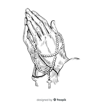 Praying hands with rosary background