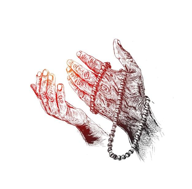 묵주, 손으로 그린 스케치 벡터 배경으로 기도하는 손.
