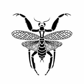 Молящийся богомол символ логотипа трафарет дизайн татуировки векторные иллюстрации