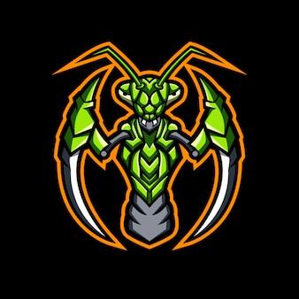 Praying mantis mascot logo design