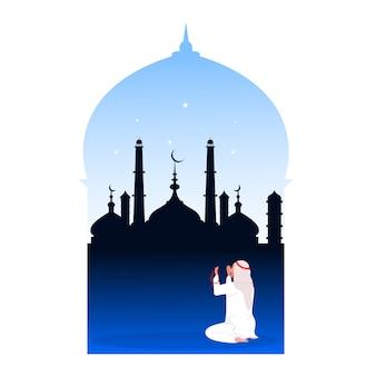 Praying muslim man illustration.