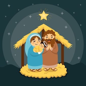 Praying people standing in the night nativity scene