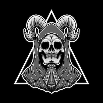 Praying skull triangle vector illustration