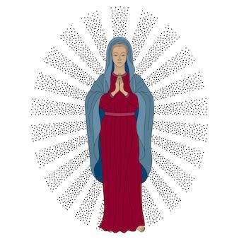 白い背景の上の光のベクトル図で聖母マリアを祈る