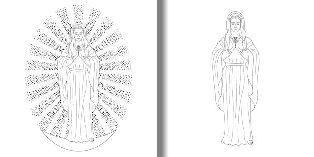 ユリのプリントセットで聖母マリアを祈る