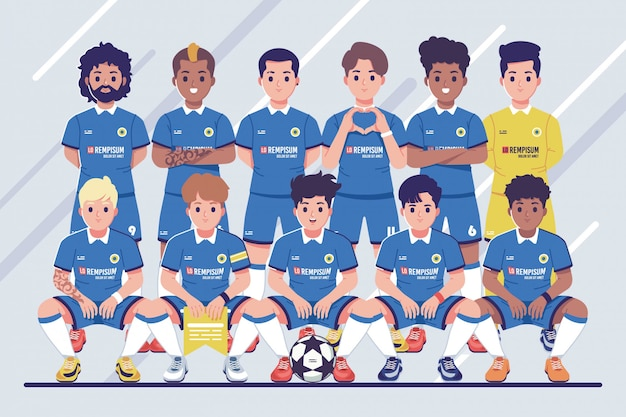Pre-match football team photo illustration background