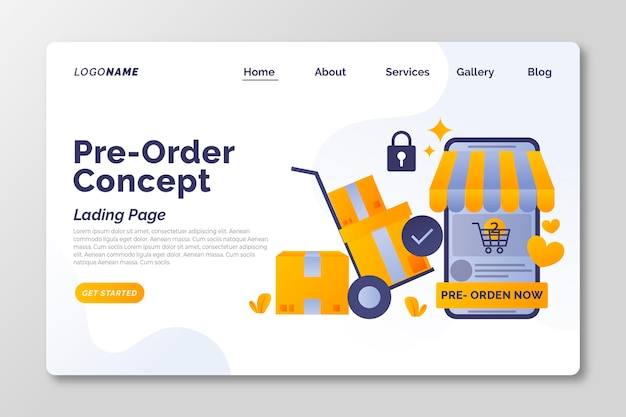 Pre-order concept landing page template