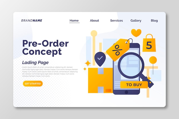 Pre-order concept landing page
