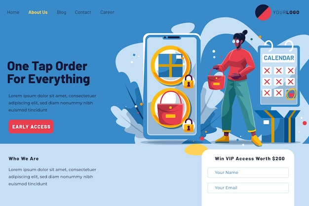 Pre-order landing page and female client