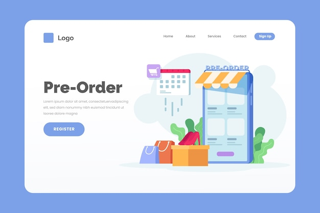 Pre-order landing page template
