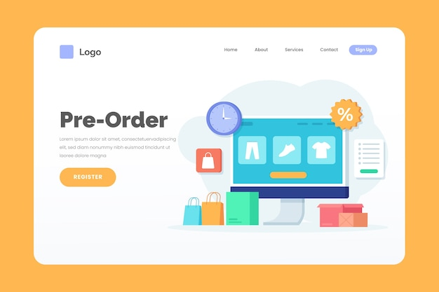 Pre-order landing page web template