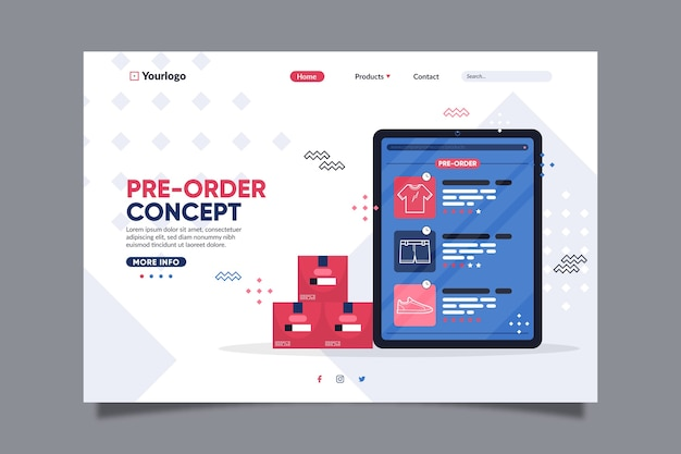 Pre-order landing page with digital tablet