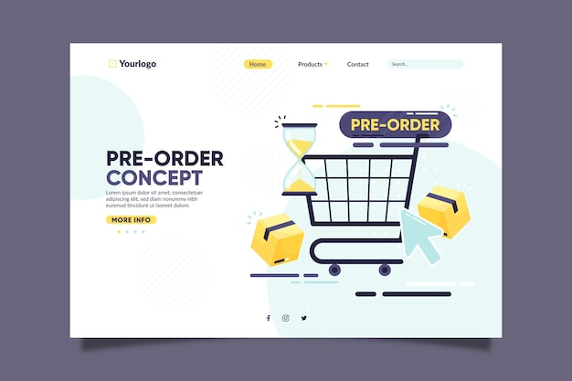 Pre-order landing page with shopping cart