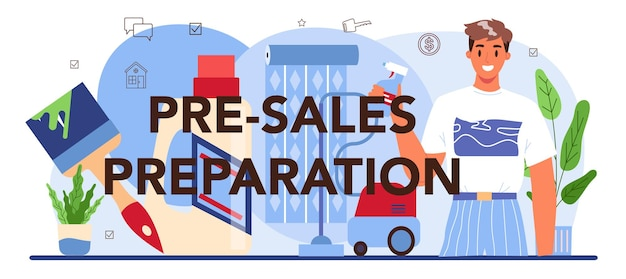 Pre-sale preparation typographic header. real estate industry. . finishing works
