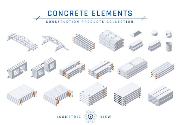 Precast concrete items for modular buildings in isometric view