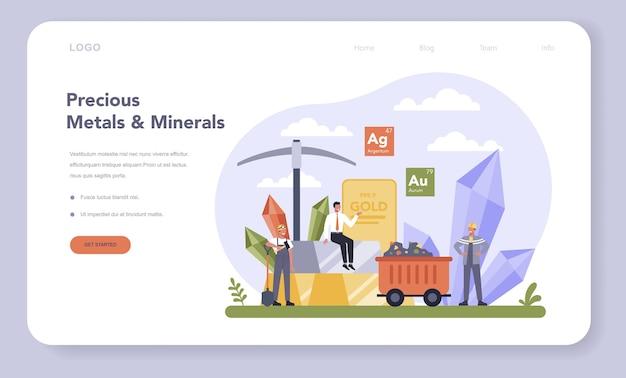 Веб-баннер или целевая страница для отрасли драгоценных металлов и минералов