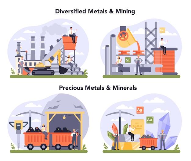 Preciosの金属と鉱物、非鉄金属と鉱業のセット。鉄鋼または金属の製造プロセス。冶金産業、鉱物抽出。グローバル産業分類標準。