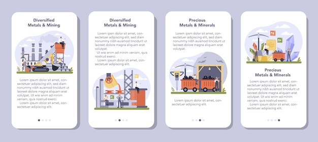 Precios metal and minerals mining mobile application banner set