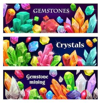 貴重なクリスタルや宝石、ジュエリーバナー。希少な宝石、地質鉱物の結晶、光沢のある宝石。