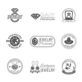 Precious jewels premium quality jewelry and gems label set isolated