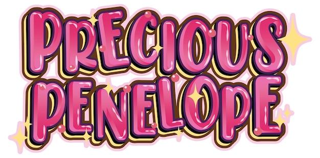 Prezioso logo di parola penelope su sfondo bianco