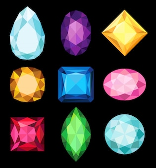 Precious stones, gems of various shapes and colors collection  illustrations on a black background