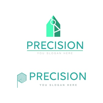 Precision logos clean design and modern in turquoise line icon desing