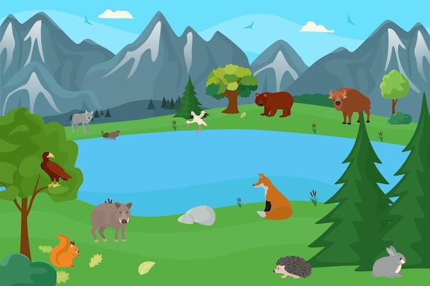 숲 벡터 일러스트 레이 션에서 육식 동물 야생 동물 야생 포유류 동물군 캐릭터와 유럽 자연...