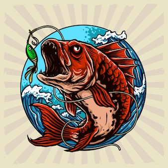 Predator fish circle illustration