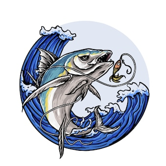 釣りクラブのロゴの捕食魚