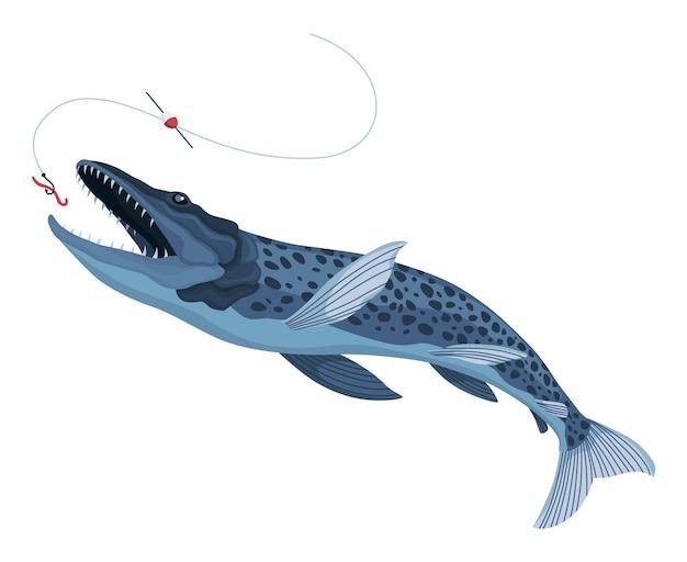 육식성 물고기 잡기. 낚시 미끼를 잡는 만화 물고기. 파이크 낚시는 갈고리에 미끼를 잡기 위해 점프하고 있습니다. 스포츠 취미. 웜 벡터 일러스트 레이 션에 낚시 또는 사냥