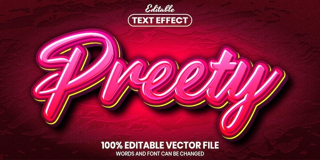 Preety text, font style editable text effect