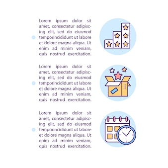 Preferred benefits and timing based segments concept line icons with text