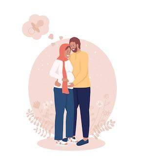 Беременность 2d вектор изолированных иллюстрация. пара ожидает ребенка. ожидание рождения ребенка. жена и муж. молодая семья плоских персонажей на фоне мультфильма. красочная сцена отцовства