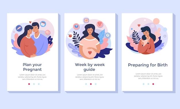 배너, 모바일 앱, 방문 페이지에 완벽한 임신 및 출산 개념 일러스트레이션 세트