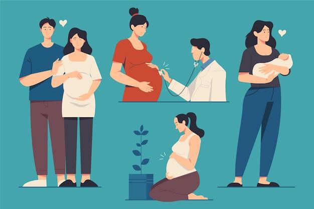 임신과 출산 장면 프리미엄 벡터