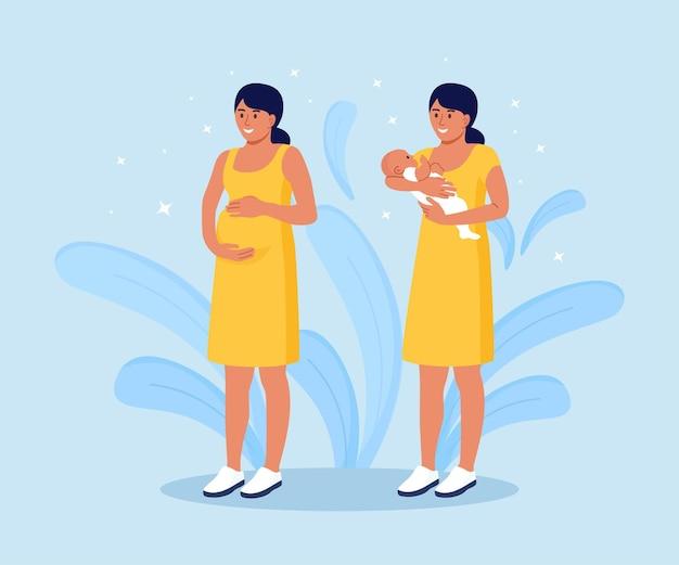임신과 모성. 아름 다운 임신한 여자는 그녀의 배꼽을 보유 하고있다. 젊은 어머니는 신생아를 팔에 안고 있습니다.