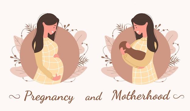 임신과 모성. 귀여운 행복 한 임신 여자입니다. 아기를 기다리는 아름 다운 젊은 여자.