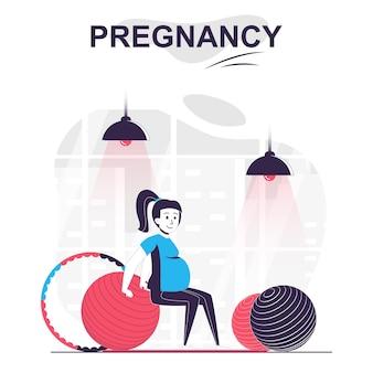 Концепция изолированных мультфильм беременности и материнства беременная женщина делает фитнес