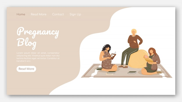 Pregnancy blog landing page vector template. club of young mothers website with flat illustrations. website design