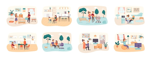Набор сцен беременности с ситуациями персонажей плоских людей