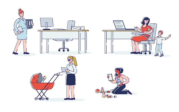 Pregnancy and career set cartoon women working on maternity