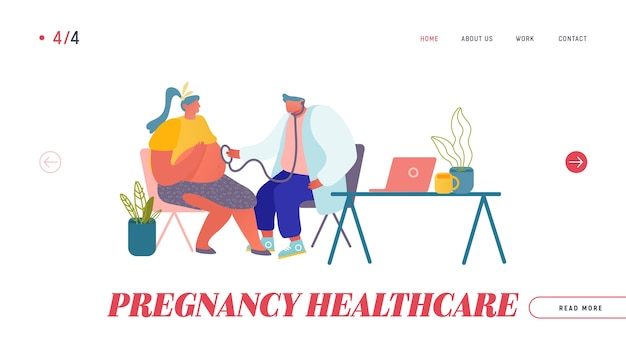 Pregnancy check up, maternity website landing page.