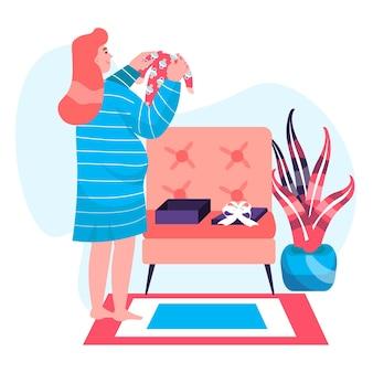 妊娠の概念。ギフトとベビーシャワーパーティーの後に子供服を保持している妊婦。出産キャラクターシーンを準備するお母さん。人々の活動とフラットなデザインのベクトル図