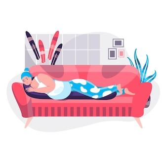 妊娠の概念。妊娠中の女性はソファの上の特別な枕の上に横たわっています。快適なホームキャラクターシーンで赤ちゃんが休むことを期待している若い母親。人々の活動とフラットなデザインのベクトル図