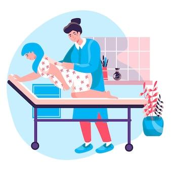 妊娠の概念。四つん這いの妊婦、看護師が彼女を助けています。出産準備、労働活動キャラクターシーンのポジション。人々の活動とフラットなデザインのベクトル図