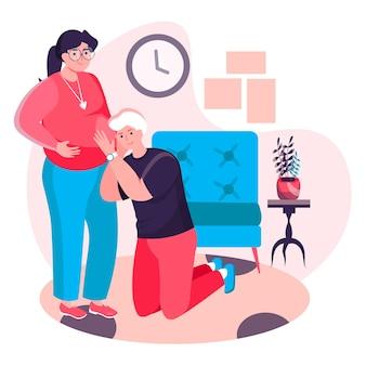 妊娠の概念。若い父親は妊娠中の妻の腹に耳を傾けます。親のキャラクターシーンになる準備をしている若い家族やカップル。人々の活動とフラットなデザインのベクトル図