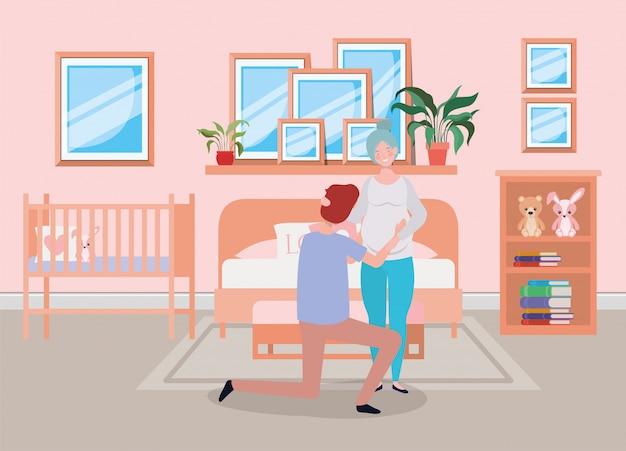 Pregnancy couple in bedroom scene